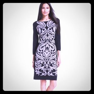 Nine West Damask-Print Sweater Dress in Black